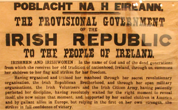 Top of the Irish Proclamation
